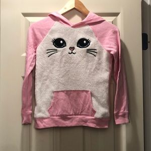 Justice size 10 pink cat hooded sweatshirt